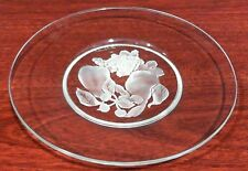 "Val St. Lambert Crystal 8"" Etched Fruit Dish Plate - Signed - USED/GREAT"