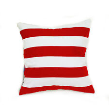 Red and White Stripe Cotton Canvas Cushion Cover European Pillowcase 65x65cm