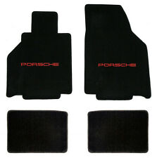 NEW! 1999-2000 BLACK FRONT FLOOR MATS PORSCHE 911 WITH RED EMBROIDERED LOGO 4 pc