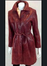 EXCELLED® Vintage LEATHER Belted Red/black LINED Trench Coat Women's Size Small