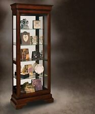 Lighted Curio Cabinet Display Case Trophy Mirrored Sliding Glass Door Cherry NEW