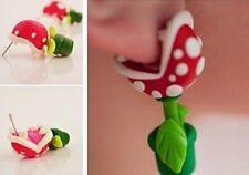 1 Paar 3D Damen Mode Piranha Plant Polymer Clay Stud Earrings Blumen-Ohrstecker