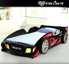 KIDS Childrens Black RED SPORTY BOYS Racing Car SINGLE Bed w/ LIGHT 3D WHEELS