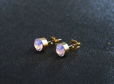 GOLD PLATED PINK CZ OPAL STUD EARRINGS