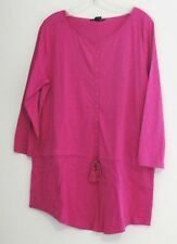 Lauren Ralph Lauren Womens Drawstring Tunic Top Accent Pink Sz L - NWT