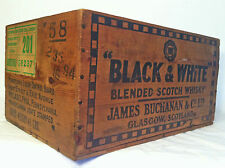 VINTAGE BLACK & WHITE SCOTCH WHISKY WOODEN CRATE BOX Black and White Whiskey