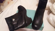 CLARKS BLACK LEATHER ANKLE  BOOTS DEMI WEDGE BIKER GRUNGE SIZE 7