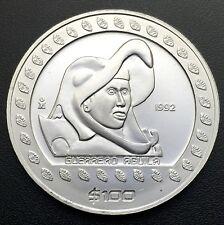 """1992 Guerrero Aguila """"Eagle Warrior"""" Mexico $100 1 oz .999 Silver Coin  #PCA2"""