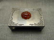 1920's Yamanaka & Co. Japan Matchbox Holder - Pewter & Carved Carnelian Flower