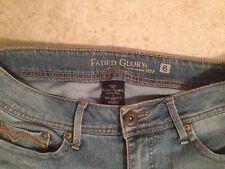 """Faded Glory Jeans Size 6 Metal Buttons 22.5"""" Inseam 30-32"""" waist -Free Shipping"""