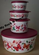 Tupperware Butterflies Large Container  Twist, Stack & Store Seal Set 4 New