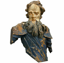 Italian Baroque Carved Painted Bust Of A Saint or Possibly Moses- Large Scale