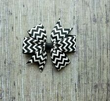 Hair Bows Handmade Girl's Hairbow Black + White Chevron NEW Boutique 3 in. Bow