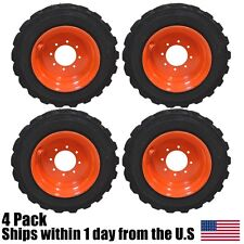 (4) New 10Ply 10x16.5 Skid Steer Tires Wheels & Orange Rims fits Bob-Cat