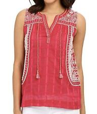 Lucky Brand $89.50 Sleeveless Embroidered Red Cotton Top 1X