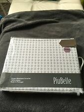PiuBelle White And Taupe Matelasse Coverlet Diamond Print Queen Made In Portugal