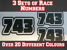 "3 Sets 5"" 125mm Race Number Vinyl Stickers Decals MX MotocrossTrack Bike Kart N5"
