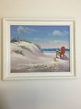 Small Hand Painted Oil Painting on Canvas,Framed View Of Sea Relaxing Time