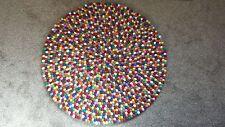 FELT BALL RUG NEPAL : 100% Woolen Handmade AZO Free Mat Carpet Size 100 cm