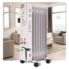 1500W 5-Fin Electric Oil Filled Radiator Space Heater Thermostat Room Radiant US