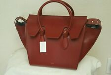 CELINE New Mini Tie Natural Calfskin Leather Red Tote Bag NWT AMAZING!