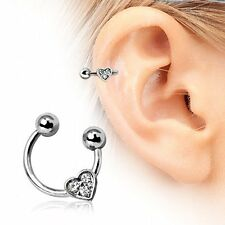 Heart Gemmed Horseshoe Cartilage Earring 316L Surgical Steel