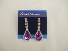 Double Strand Clear Crystal Stone Drop Earrings Purple Teardrop Stone Bottom New