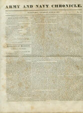 Newspaper Army and Navy Chronicle U.S. Military Pensacola Sharks & Pirates 1835