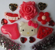 W232W Mobile Beauty 3D DIY Cell Phone Case Red Kitty Love Rose Deco Den Kit