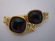 GIVENCHY PARIS NEW YORK © GOLD PLATE EARRINGS DEEP RED AUSTRIAN CRYSTAL VINTAGE