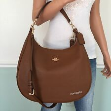 NEW! COACH Gorgeous Pebbled Leather Hobo Shoulder Bag Crossbody Purse Brown
