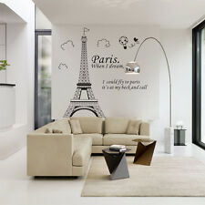 Fashion Paris Eiffel Tower Vinyl Art Decal Mural Home Room Wall Sticker Decor