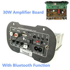 30W Bluetooth Car Subwoofer Hi-Fi Bass Power Amplifier Board TF USB 12V/24V/220V
