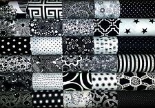 30 Black White Mixed prints quilting fabric 5 inch squares #46