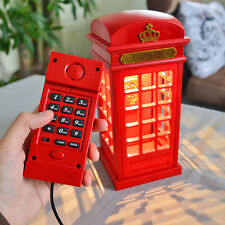 LED Telephone Booth  Home Corded Telephone Wired Phone Booth Table Night Lamp