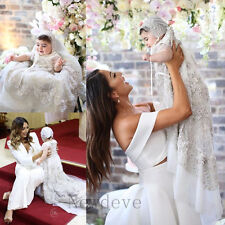 Rhinestones Baby Baptism Christening Dress Gowns Lace Satin Bonnet Toddler 2016