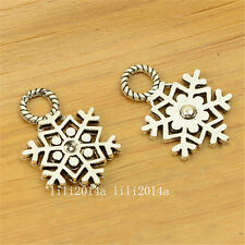 20pc Tibetan Silver Charms Christmas Snowflake Beads Accessories Wholesale PL814