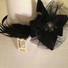 TALBOTS  NWT O/S Black Flower & Feather w Net Side FANTASIZER Style Headband!