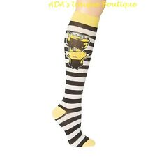 Despicable Me Minions Striped Knee Socks NWT Officially Licensed Merchandise
