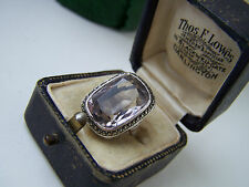GORGEOUS VINTAGE STERLING SILVER AMETHYST & MARCASITE COCKTAIL RING SIZE J RARE