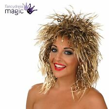 LADIES ROCK AND ROLL RETRO PUNK CHICK PERM TINA TURNER FANCY DRESS COSTUME WIG