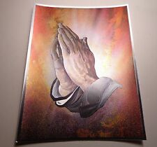 Vintage DUFEX English Print Hands Praying 1980s Foil Print