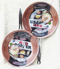 TWO ~ 10 INCH ~ RED COPPER NON-STICK FRY PANS ~ CERAMIC COPPER INFUSED