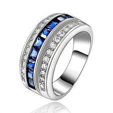 Mens Womens Jewelry Size 10 Halo Blue Sapphire 18K Gold Filled Wedding Ring Gift