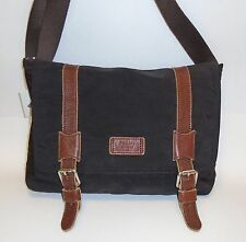 FOSSIL CANYON COMMUTER BLACK CANVAS,BROWN LEATHER TRIM,MESSENGER BAG,CROSSBODY