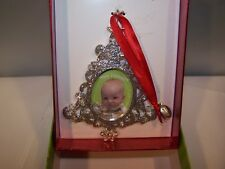 Holiday Metal Christmas tree Picture Frame ornament silver sparkle