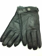 Calvin Klein Mens Leather Classic Black Winter Gloves Sz M Strap Hand Protection