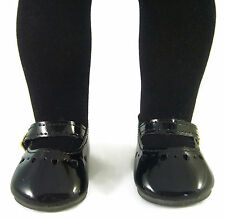 Victorian Era Black Tights + Black Patent Shoes for American Girl Doll Clothes