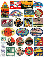 Vintage Hotel Bagage étiquette Autocollants Paquet de 25 Valise Voyage Décalques