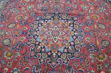 9'4x12'8 Signed Authentic Semi Antique Persian Mashad Hand Knotted Wool Area Rug